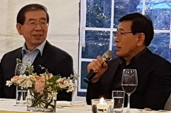박원순 시장(좌)와 서종수 한국노총 서울지역본부 의장