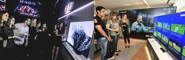 러시아 월드컵을 앞두고 삼성(오른쪽)과 LG는 대형 TV를 주력으로 총공세에 나섰다. 사진= 삼성, LG 제공