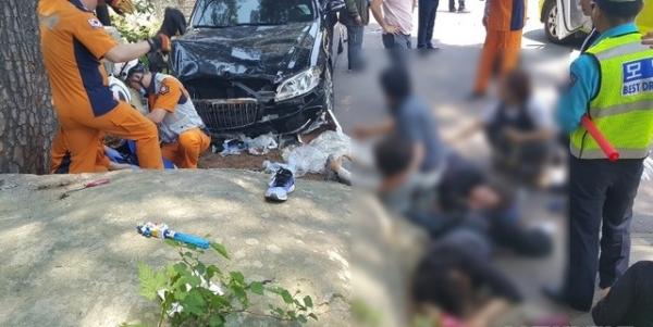 12일 경남 양산시 통도사 입구에서 승용차가 돌진해 신도 등 13명이 숨지거나 다쳤다. / 사진 = 양산경찰서 제공