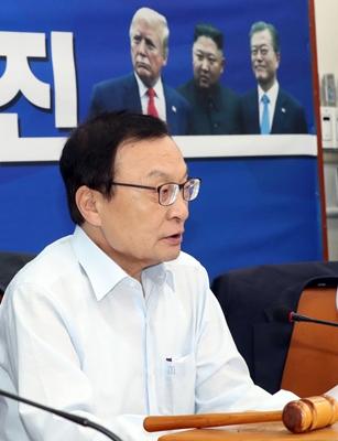 1일 오전 서울 여의도 국회에서 열린 더불어민주당 최고위원회의에서 이해찬 대표가 발언하고 있다. / 사진 = 뉴시스