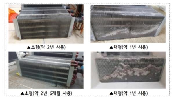 애완동물 유무에 따른 모델별 콘덴서 먼지 축적량 / 사진 = 한국소비자원