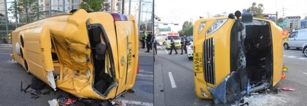 25일 오전 7시24분께 서울 송파구 방이동에서 고등학교 통학버스가 승용차와 충돌하는 사고가 발생했다. / 사진 = 뉴시스