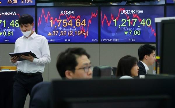 31일 서울 중구 하나은행 딜링룸에서 직원들이 업무를 보고 있다. ⓒ뉴시스