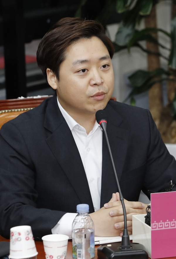 정원석 미래통합당 비상대책위원이 1일 오전 서울 여의도 국회에서 열린 1차 비상대책위원회의에서 발언하고 있다.